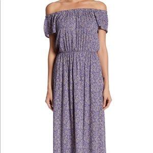 LUSH lavender off the shoulder maxi dress